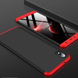 Матовый пластиковый чехол GKK 360 градусов для Xiaomi Redmi 7A (Черный / Красный)
