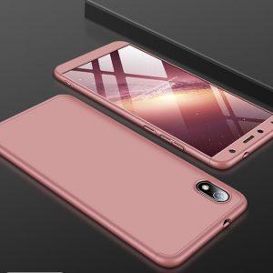 Матовый пластиковый чехол GKK 360 градусов для Xiaomi Redmi 7A (Розовый)