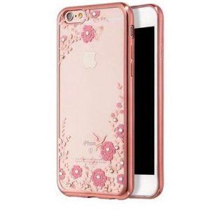 Прозрачный силиконовый (TPU) чехол (накладка) с глянцевым ободком с цветами и стразами для Iphone 6 Plus / 6s Plus (Розовый)