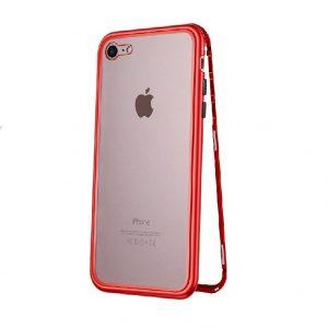 Магнитный противоударный чехол (бампер) 360 градусов защиты для Iphone 6 / 6S (Красный)
