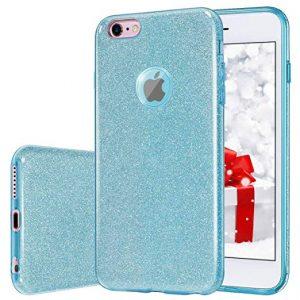 Cиликоновый (TPU+PC) чехол Shine с блестками для Iphone 6 / 6S (Голубой)