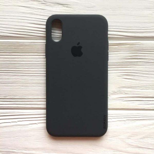 Оригинальный чехол Silicone Case с микрофиброй для Iphone XR №37 (Dark Grey)