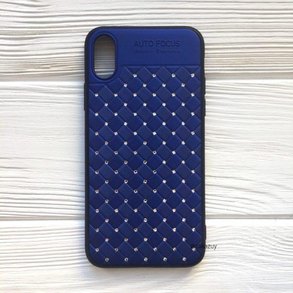 Силиконовый плетеный (TPU+PC) чехол со стразами Diamond для Iphone XR (Синий)