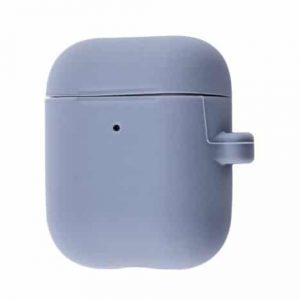 Чехол для наушников Silicone Case Slim + карабин для Apple Airpods 2 – Lavender gray