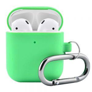 Чехол для наушников Silicone Case Slim + карабин для Apple Airpods 2 – Light green
