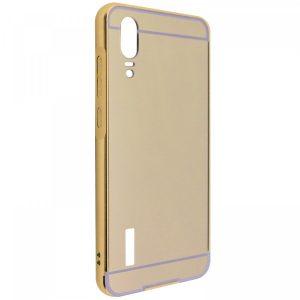 Металлический бампер с акриловой вставкой с зеркальным покрытием для Huawei P20 – Gold