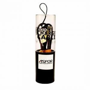 Кабель Aspor Quick charge Type- C 2.1А (1.2м) – Черный / Золотой