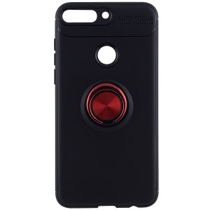 Cиликоновый чехол Deen ColorRing с креплением под магнитный держатель для Huawei Y7 2018 / Y7 Prime 2018 – Красный
