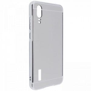 Металлический бампер с акриловой вставкой с зеркальным покрытием для Huawei P20 – Silver