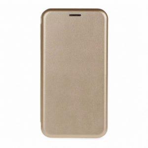 Кожаный чехол-книжка 360 с визитницей для Xiaomi Redmi 7A – Золотой