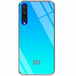 TPU+Glass чехол Gradient Rainbow с лого  для Xiaomi Mi 9 Lite / Mi CC9 – Голубой