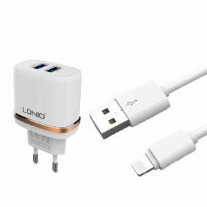 Сетевое зарядное устройство LDNIO DL-AC52 + кабель Lightning 2USB 2.4A – White