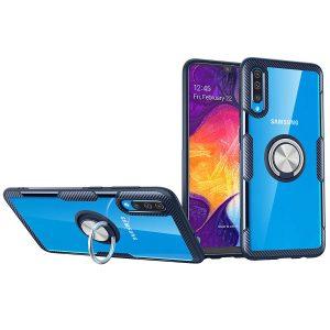 Чехол TPU+PC Deen CrystalRing с креплением под магнитный держатель для  Samsung Galaxy A50 2019 (A505) / A50s / A30s — Бесцветный / Темно-синий