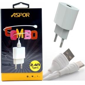 Сетевое зарядное устройство Aspor A818plus + кабель Type-C 2.4A – White