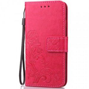 Кожаный чехол-книжка Four-leaf Clover с визитницей для  Xiaomi Mi Max 3 – Розовый