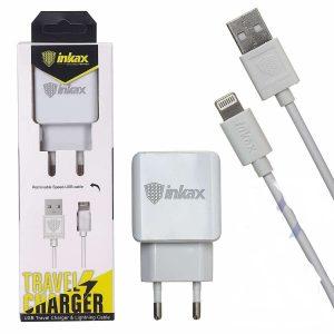 Сетевое зарядное устройство Inkax CD – 01 + кабель Lightning 2.4A – White