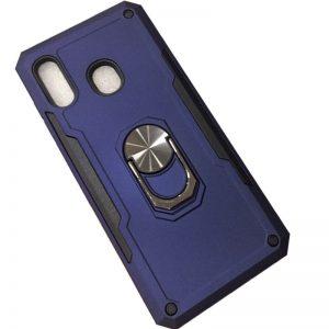 Ударопрочный чехол SG Ring Color под магнитный держатель с кольцом для Huawei P Smart Z — Темно-синий