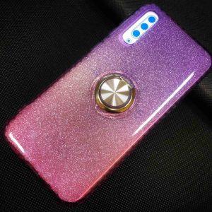 Cиликоновый чехол c кольцом и блестками для Samsung Galaxy A30s 2019 (A307) / A50S (A507) – Violet / Rose