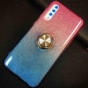 Cиликоновый чехол c кольцом и блестками для Samsung Galaxy A30s 2019 (A307) / A50S (A507) – Rose / Blue