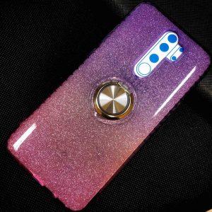 Cиликоновый чехол c кольцом и блестками для  Xiaomi Redmi Note 8 Pro – Violet / Rose