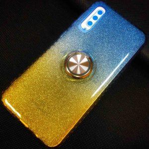 Cиликоновый чехол c кольцом и блестками для Samsung Galaxy A30s 2019 (A307) / A50S (A507) – Blue / Yellow