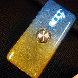 Cиликоновый чехол c кольцом и блестками для  Xiaomi Redmi Note 8 Pro – Blue / Yellow