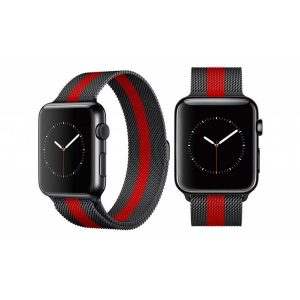 Ремешок Миланская петля Milanese Loop для Apple Watch 38 mm / 40 mm – Black / Red