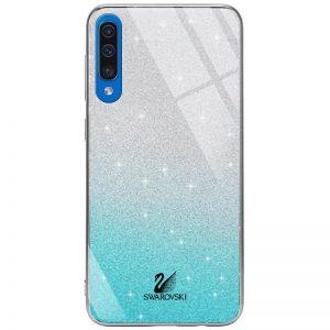 Чехол с блестками Swarovski TPU+Glass для Samsung Galaxy A50 / A30s 2019 – Бирюзовый