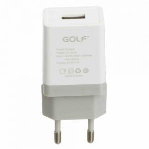 Сетевое зарядное устройство Golf GF-U1 + кабель Lightning 1USB 1A – White