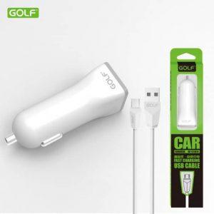 Автомобильное зарядное устройство Golf GF-C1+ кабель microUSB (1USB / 1A) – White