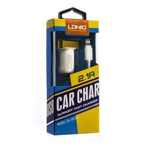 Автомобильное зарядное устройство LDNIO DL-DC 211+ кабель Lightning (1USB / 2.1A) – White