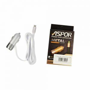 Автомобильное зарядное устройство Aspor Metal Series + кабель Lightning (1USB / 2.4A) – White