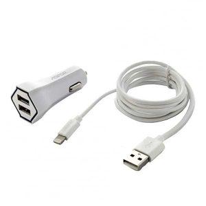 Автомобильное зарядное устройство Aspor A901C+ кабель Lightning (2USB / 2.4A) – White