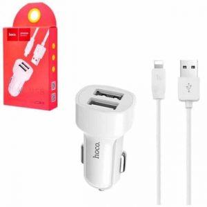Автомобильное зарядное устройство HOCO Z2A + кабель Lightning (2USB / 2.4A) – White