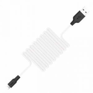 Кабель Hoco X21 plus Silicone Lightning 2A (1м)- Black / White