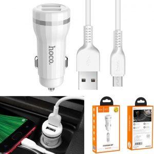 Автомобильное зарядное устройство HOCO Z27 + кабель microUSB (2USB / 2.4A) – White