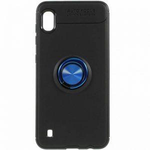 Cиликоновый чехол Deen ColorRing c креплением под магнитный держатель для Samsung Galaxy A10 2019 (A105) – Черный / Синий