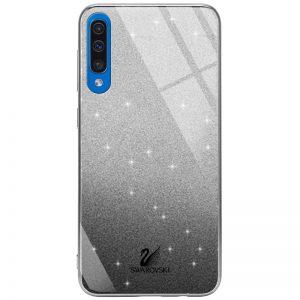 Чехол с блестками Swarovski TPU+Glass для Samsung Galaxy A50 / A30s 2019 – Черный