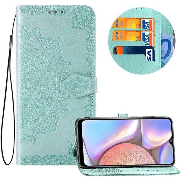 Кожаный чехол-книжка Art Case с визитницей для Xiaomi Redmi 8A — Бирюзовый