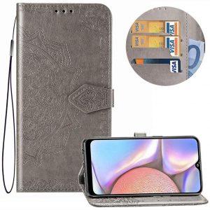 Кожаный чехол-книжка Art Case с визитницей для Samsung Galaxy A10s 2019 (A107) — Серый