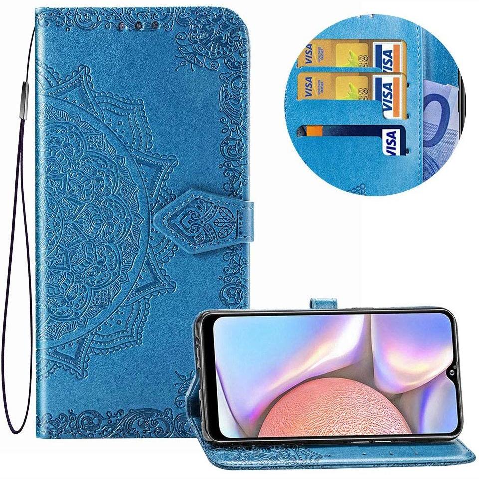 Кожаный чехол-книжка Art Case с визитницей для Samsung Galaxy A10s 2019 (A107) – Синий