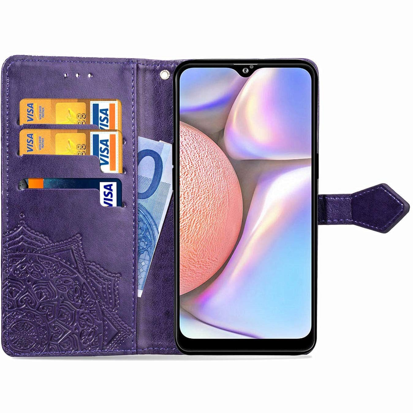 Кожаный чехол-книжка Art Case с визитницей для Samsung Galaxy A10s 2019 (A107) – Фиолетовый 34867