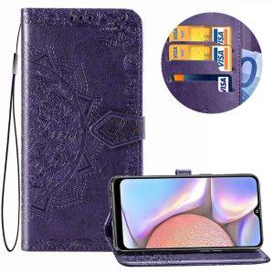Кожаный чехол-книжка Art Case с визитницей для Samsung Galaxy A10s 2019 (A107) — Фиолетовый