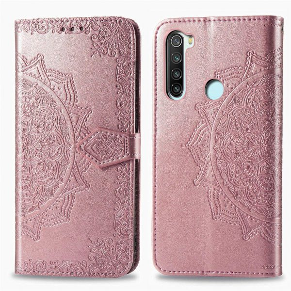 Кожаный чехол-книжка Art Case с визитницей для Xiaomi Redmi Note 8 – Розовый