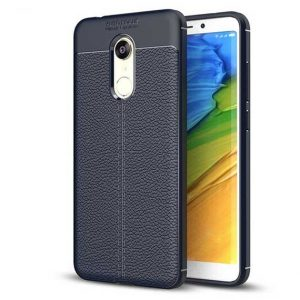 TPU чехол фактурный (с имитацией кожи) для  Xiaomi Redmi 5 Plus – Синий