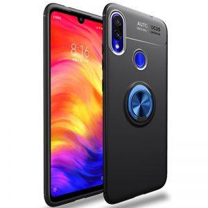Cиликоновый чехол Deen ColorRing с креплением под магнитный держатель для Samsung Galaxy A10s 2019 (A107) — Черный / Синий