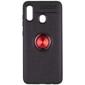 Cиликоновый чехол Deen ColorRing с креплением под магнитный держатель для Samsung Galaxy A10s 2019 (A107) — Черный / Красный
