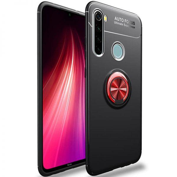 Cиликоновый чехол Deen ColorRing с креплением под магнитный держатель для Xiaomi Redmi Note 8 – Черный / Красный