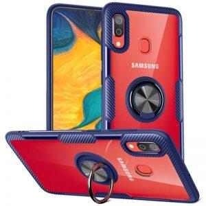 Чехол TPU+PC Deen CrystalRing с креплением под магнитный держатель для Samsung Galaxy A20 / A30 2019 — Синий