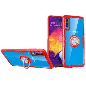 Чехол TPU+PC Deen CrystalRing с креплением под магнитный держатель для Samsung Galaxy A50 / A30s 2019 — Красный